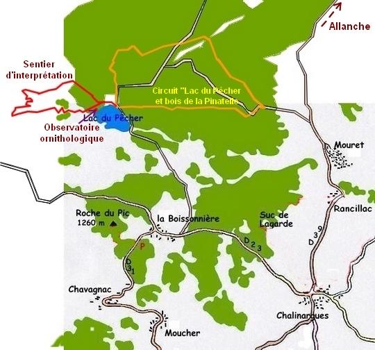 Plan du lac du Pêcher