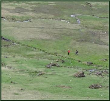 Des randonneurs dans le territoire des marmottes