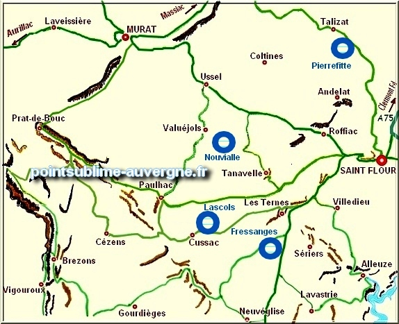 Carte des zones humides de la Planèze de St Flour