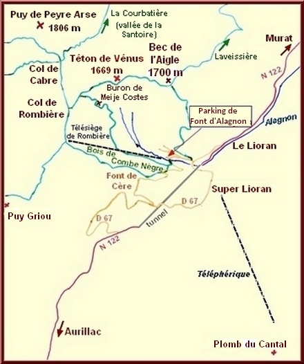 Carte Monts du Cantal