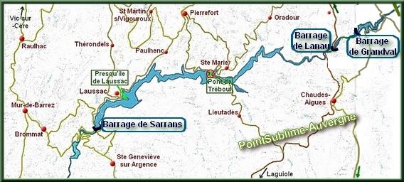 Carte de la Truyère et ses barrages